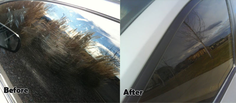 Car Scratched Window Before and After